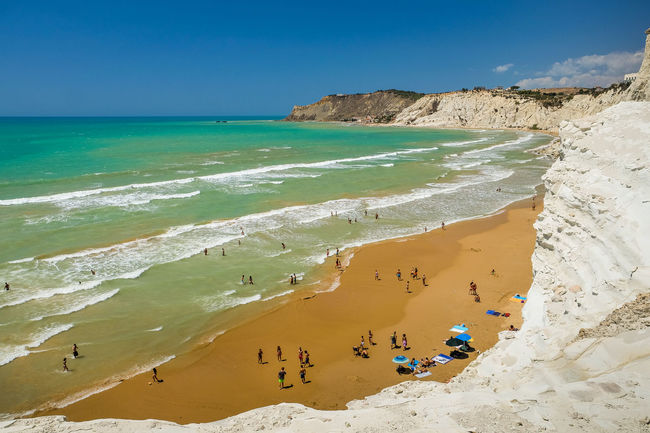 Scala dei Turchi (AG) Beach Horizon Over Water Large Group Of People Nature Sand Sea Shore Sicily Summer Tourist Vacations White Rocks
