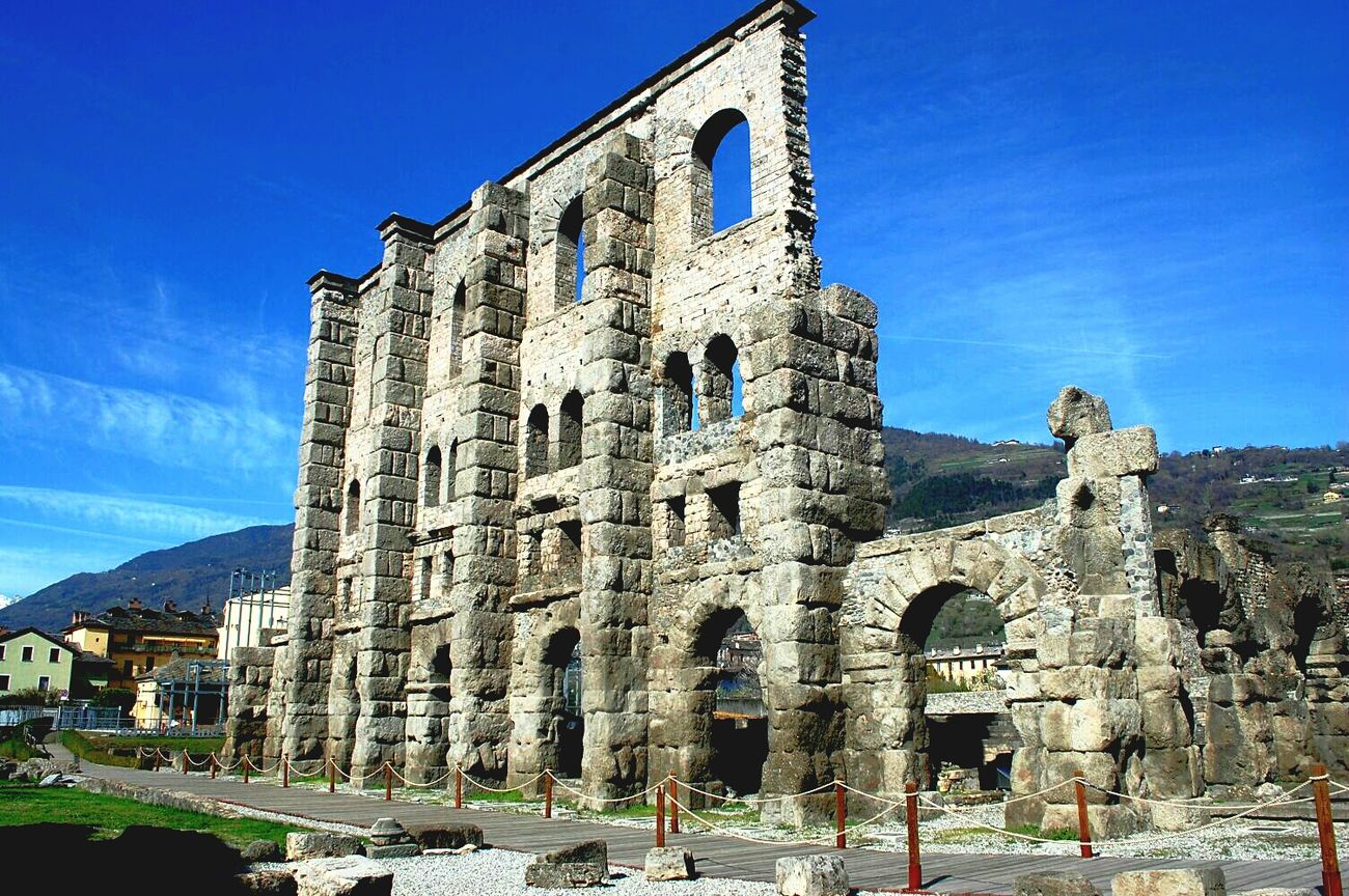 Aosta Travel Destinations History Architecture No People Building Exterior Outdoors Day Sky Aostasvalley