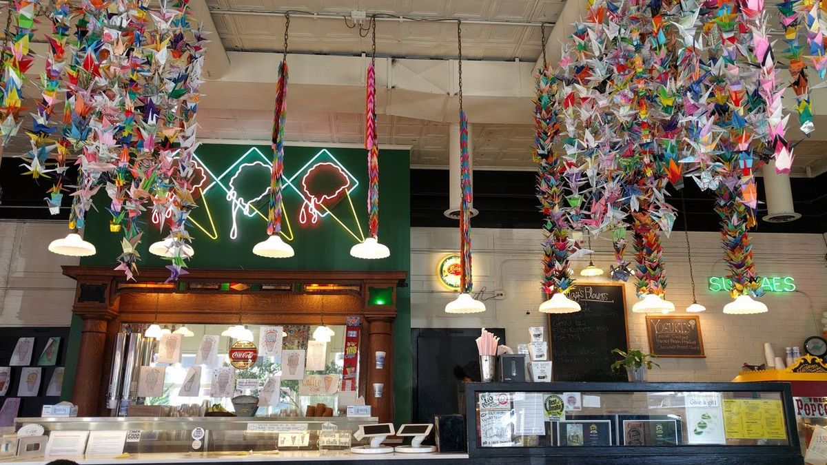 Paper Cranes in Omaha Architecture Colorful Event Hanging Ice Cream Shop Indoors  Multi Colored Night No People Paper Cranes