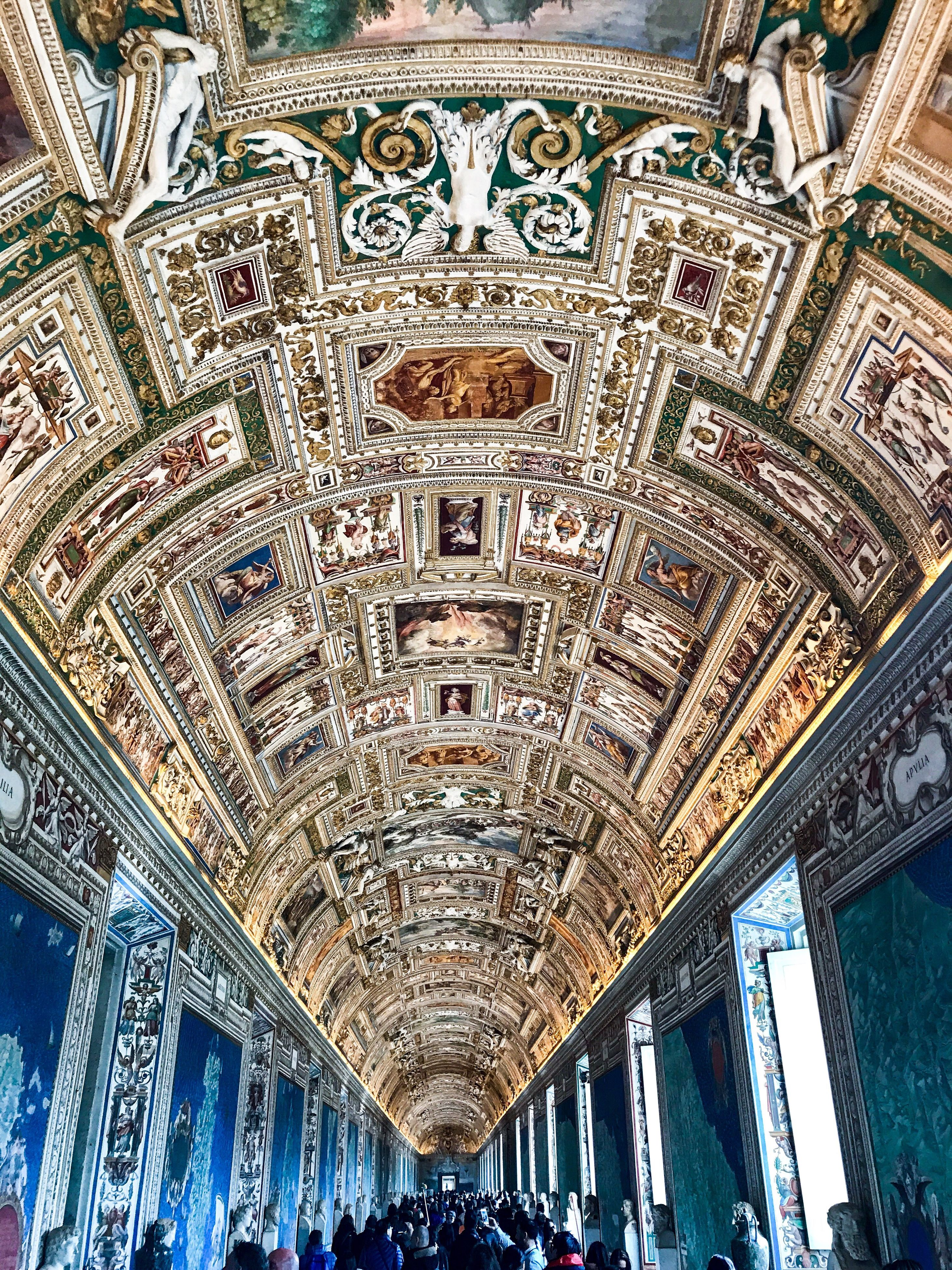 ceiling, indoors, pattern, architecture, low angle view, travel destinations, no people, illuminated, day