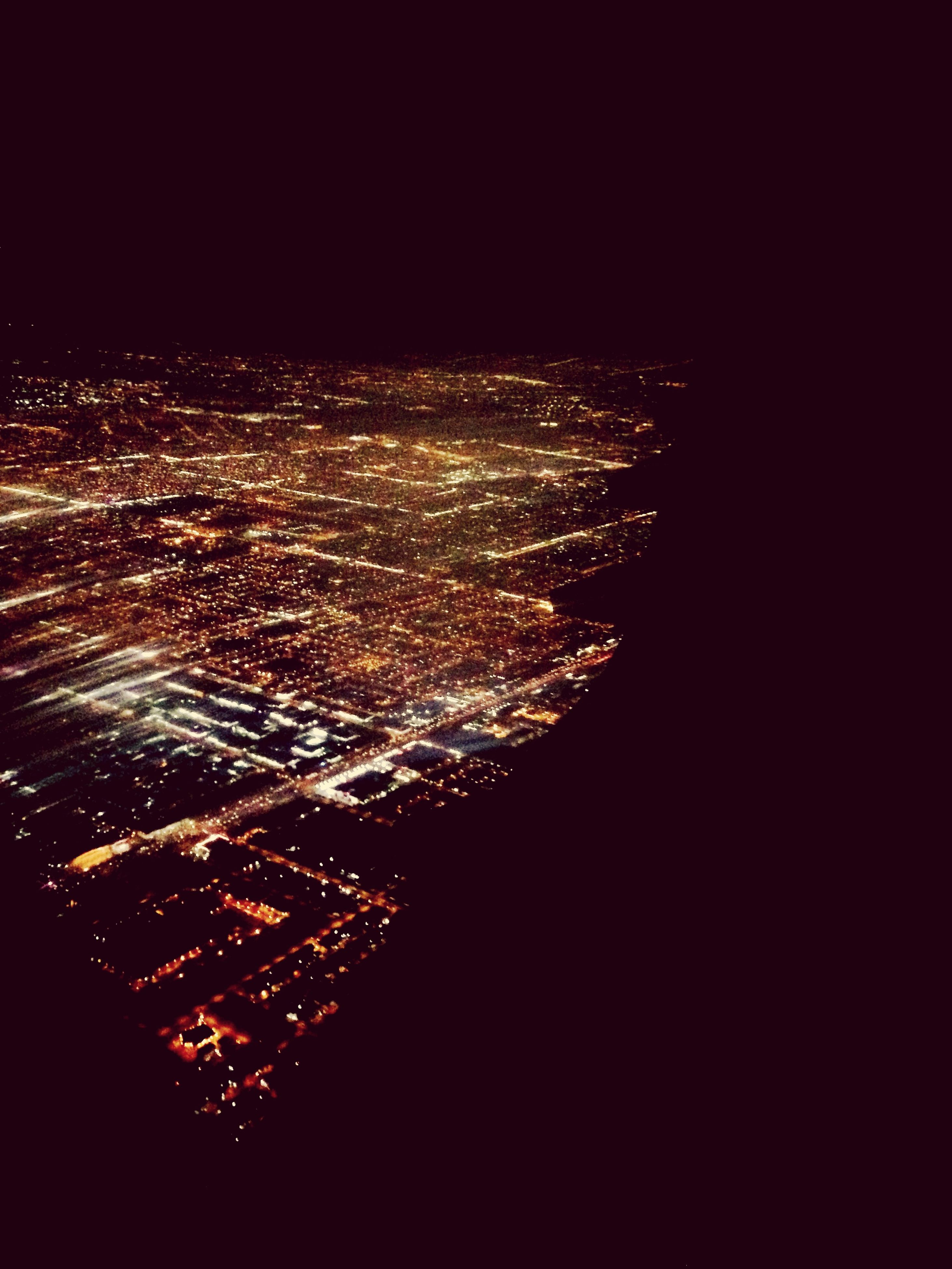 night, illuminated, city, cityscape, architecture, building exterior, built structure, aerial view, high angle view, sky, dark, long exposure, copy space, modern, light, crowded, glowing, no people, city life, skyscraper