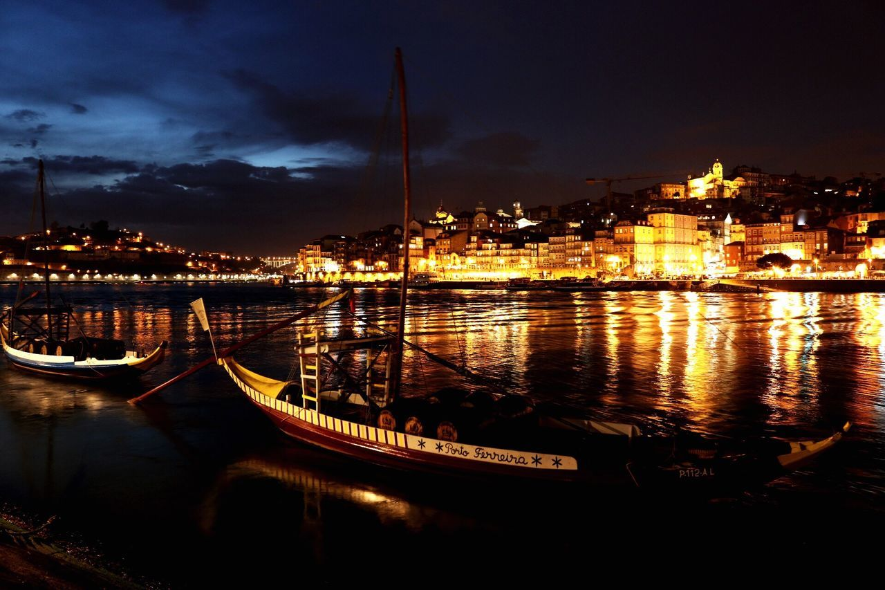 Illuminated Architecture Reflection Built Structure Nautical Vessel Building Exterior Water Sky City Moored Transportation Night No People Cloud - Sky Outdoors Cityscape Nature Yacht Beauty In Nature Electricity  Douroriver Douro  Porto City River