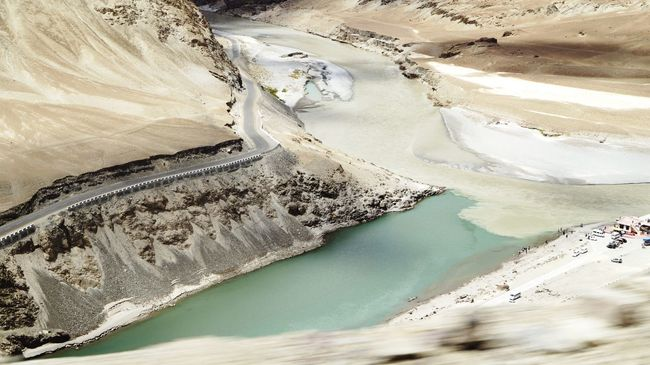 Zanskar River Indus River Confluence Moving Vehicle Leh Ladakh