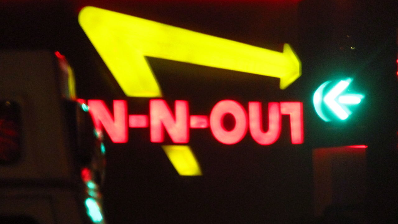 Communication Dark Glowing Illuminated Multi Colored Neon Night No People Outdoors Pink Color Red Text Western Script In And Out In N Out Color Of Business