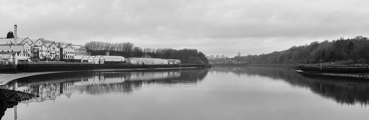 River Tyne Panaramic Water Tree Sky Built Structure Architecture Building Exterior Outdoors Reflection Nature No People Day River City Cloud - Sky Beauty In Nature Blackandwhite Check This Out EyeEm Best Shots Nikon Scenics Scenery Blacknwhite Blacknwhite_perfection