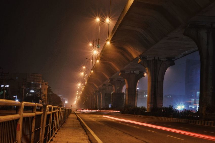 empty streets.. street lights.. night life.. Rvpics Nikonlover D3200 Night Illuminated Bridge - Man Made Structure Architecture Long Exposure Built Structure City Travel Destinations Outdoors Cityscape