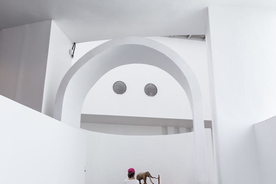 Architecture of BACC – contemporary art venue in Bangkok. Abstract Arch Architecture Archival BACC Bangkok Built Structure Contemporary Art Day Elephant Geometry Giant Horizontal Indoors  Modern Art No People Sculpture Smiley White Color Whitewashed Street Photography Streetphotography