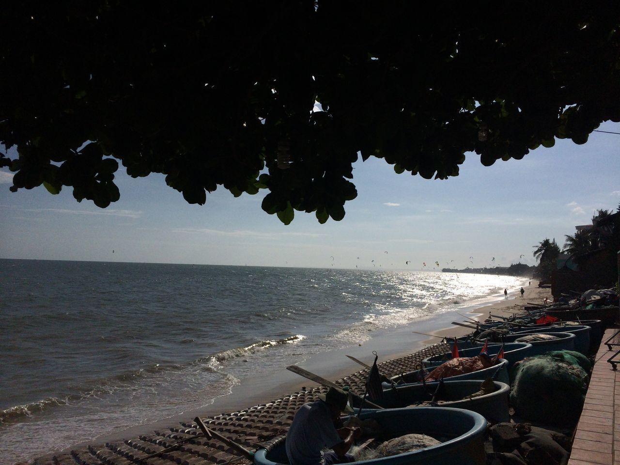Phan Thiet Vietnam Sea Beach Boats Muine Muine, Vietnam  No People