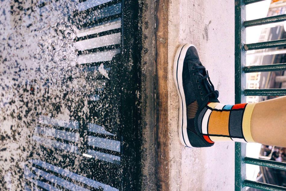 Shadow Water Reflections Colorful Socks Equilibrium Minimal Causeway Bay