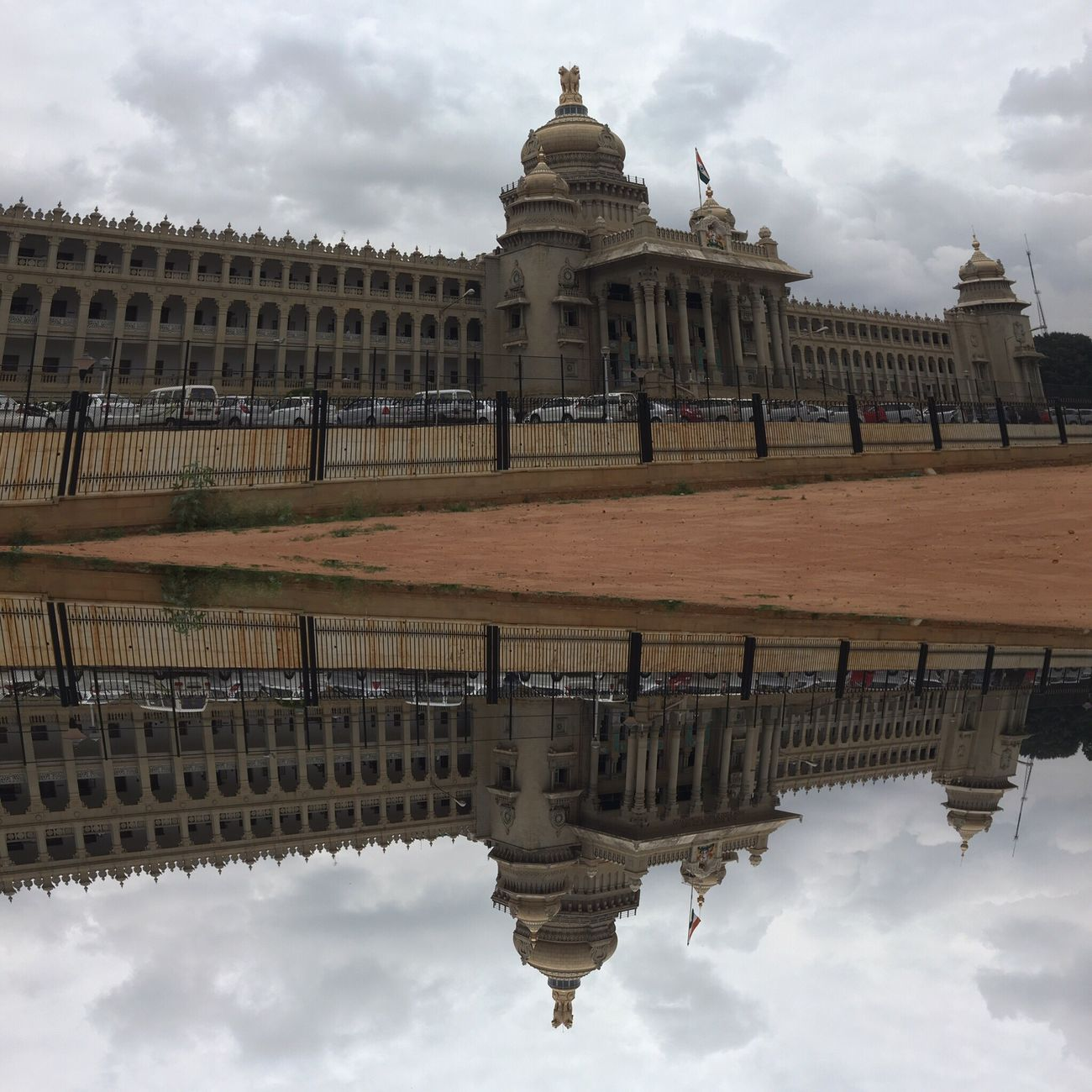 Architecture Built Structure Building Exterior Reflection Sky Cloud Travel Destinations Famous Place Capital Cities  International Landmark Blorediaries Vidhanasoudha IPhoneography