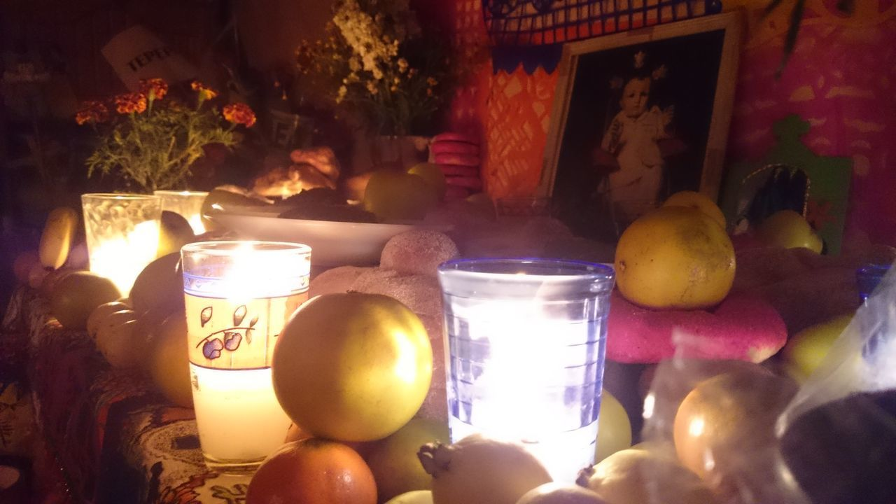 Day Of The Dead Tradition Offering Celebration Indoors  Burning Flame Multi Colored Dıa De Muertos Ofrenda Night Fruits Bread Flowers Candle Mexico City