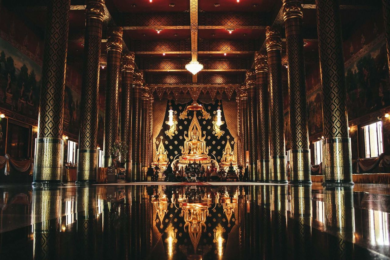 reflection, indoors, illuminated, symmetry, place of worship, religion, spirituality, no people, travel destinations, statue, sculpture, architecture, water, night