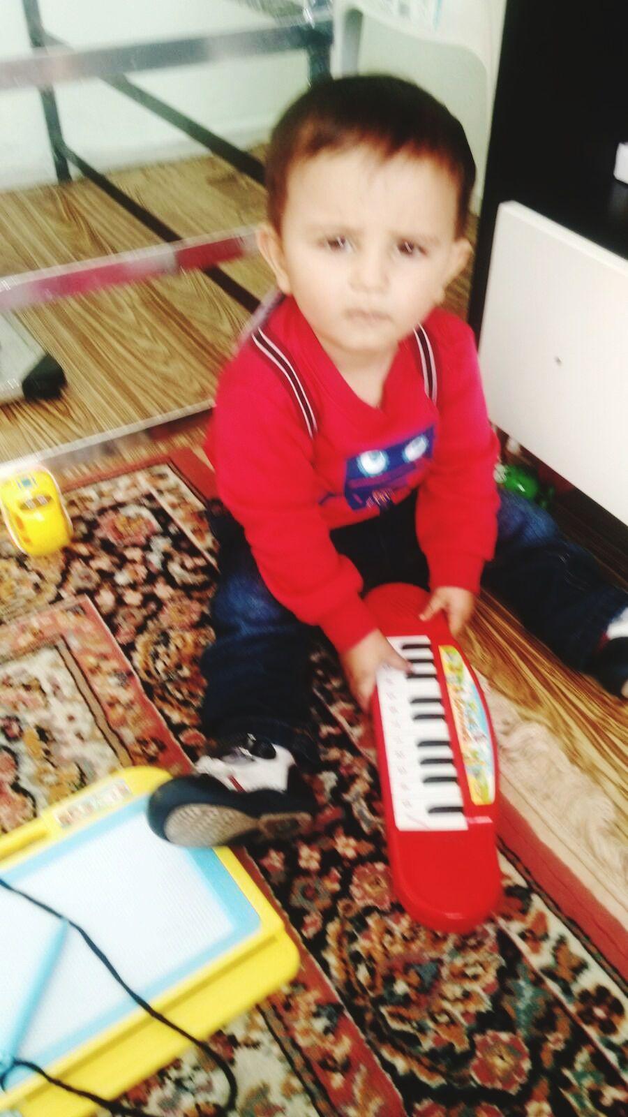 Little Musician Umutcan.Taking Photos.Hello World. Hello World