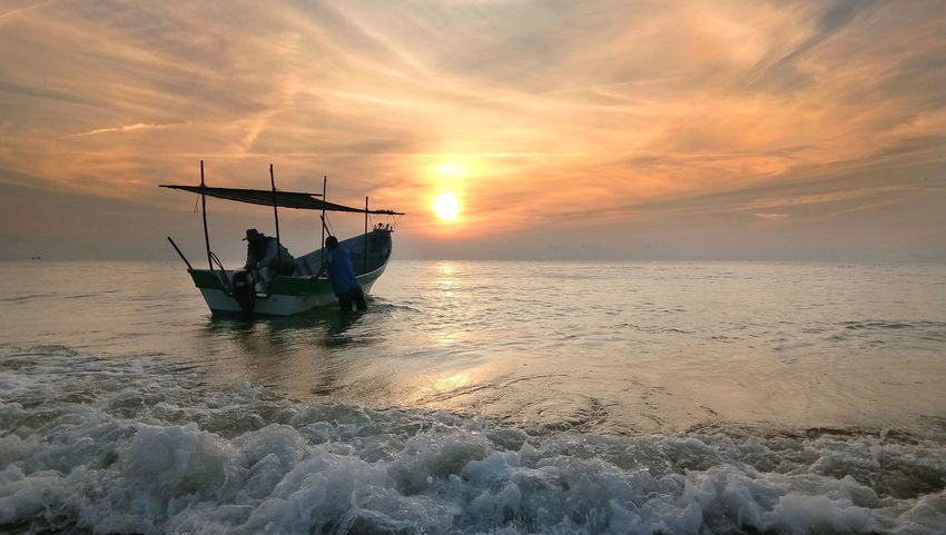Sea Horizon Over Water Outdoors Landscape Sunrise Boat Fisherman Fishermen's Life Fishermen Boat Waves Breaking Boats And Sea Sky Two Person.