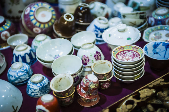 Abundance Antique Art And Craft Ceramics Clay Work Close-up Collections Colorful Colourful Decor Flea Markets Fleamarket Group Of Objects Household Objects Objects Old Rare Items Retro Selective Focus Still Life Variation