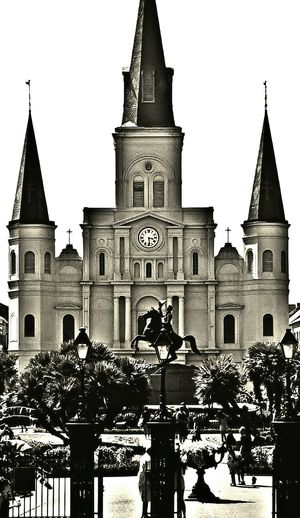 Jackson Square New Orleans St. Louis Cathedral French Quarter Louisiana South Louisiana Black & White Black And White Black&white Blackandwhite