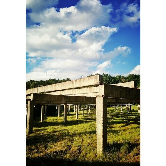 Pillars of society Weddinglocation Blue Sky Clouds outdoor green construction parkour abandoned camping forest chill quiet instadaily picoftheday viataincluj