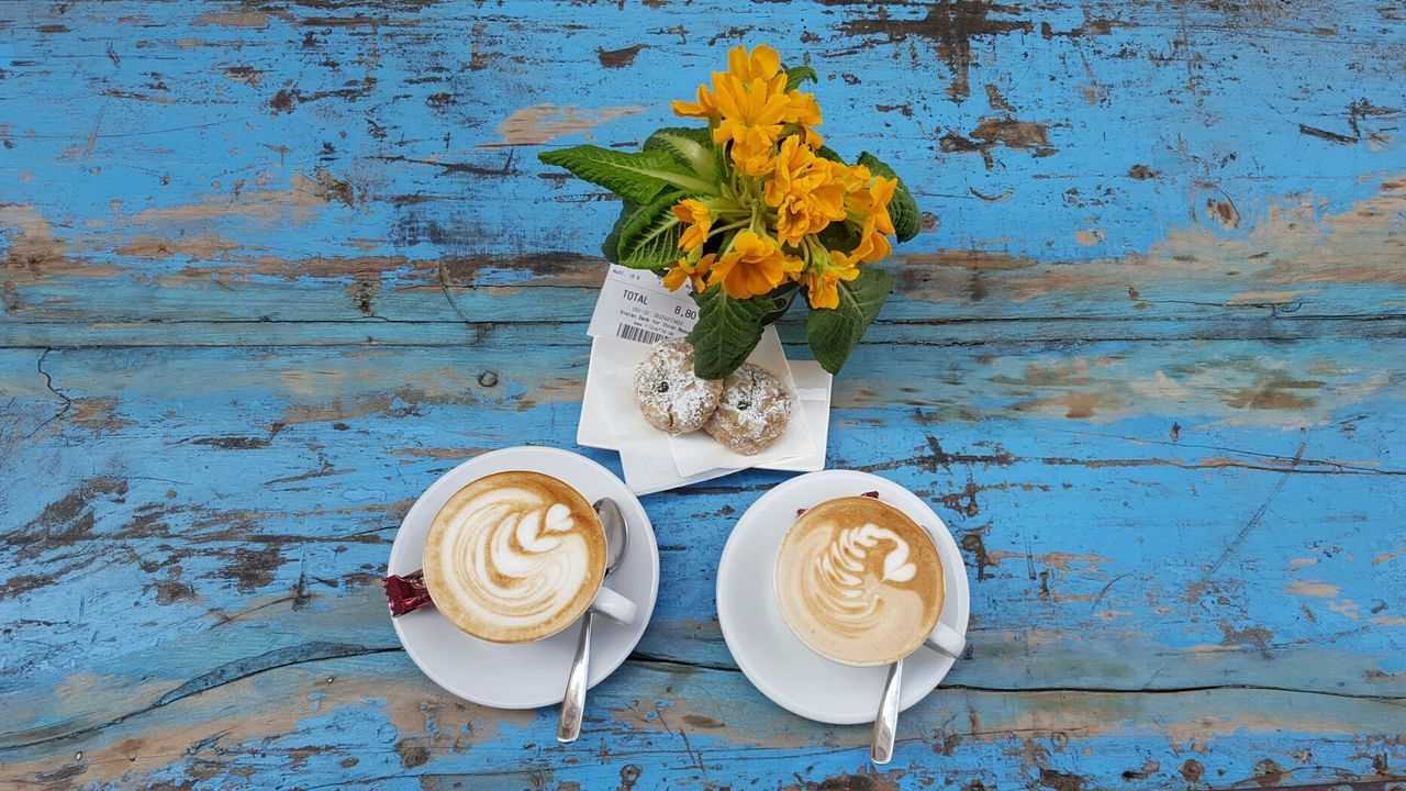 Blue Flower Drink Food And Drink No People Table Flower Arrangement Day Cappuccino Coffee Coffee Time Coffee Break Coffee - Drink Cappuccino Break Almond Bread Almond Cake Almond Candy Colourful Blue Limburg An Der Lahn Limburg Coffe Shop Art Is Everywhere