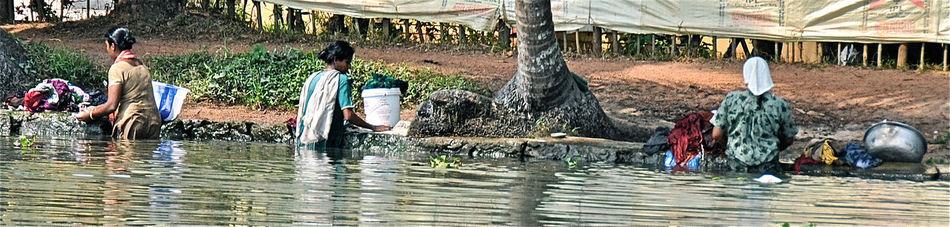Backwaters India Kerala Laundry Traditional