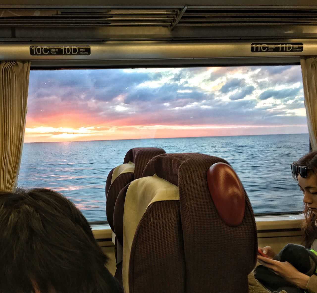 Cloud - Sky Sky Vehicle Interior Beauty In Nature Nature Sunset Sunset_collection Sunset And Clouds  Sunset_captures Train Compartment Train - Vehicle
