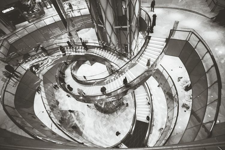 Rings of Staircase Luxurious Atrium Geometric Shapes