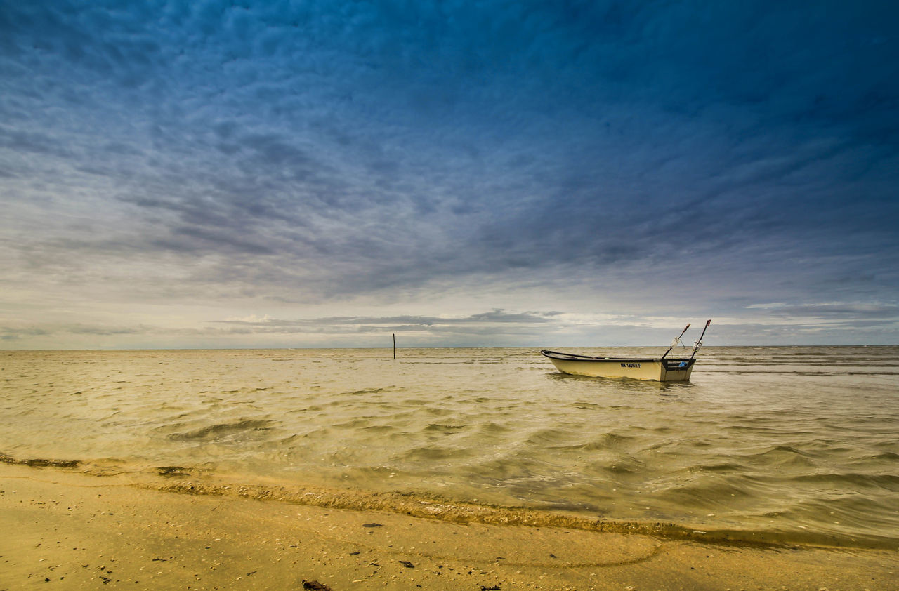 Blue Sky Boat Boat On The Sea Feel Free Feel The Journey Floating Lone Sea Seascape