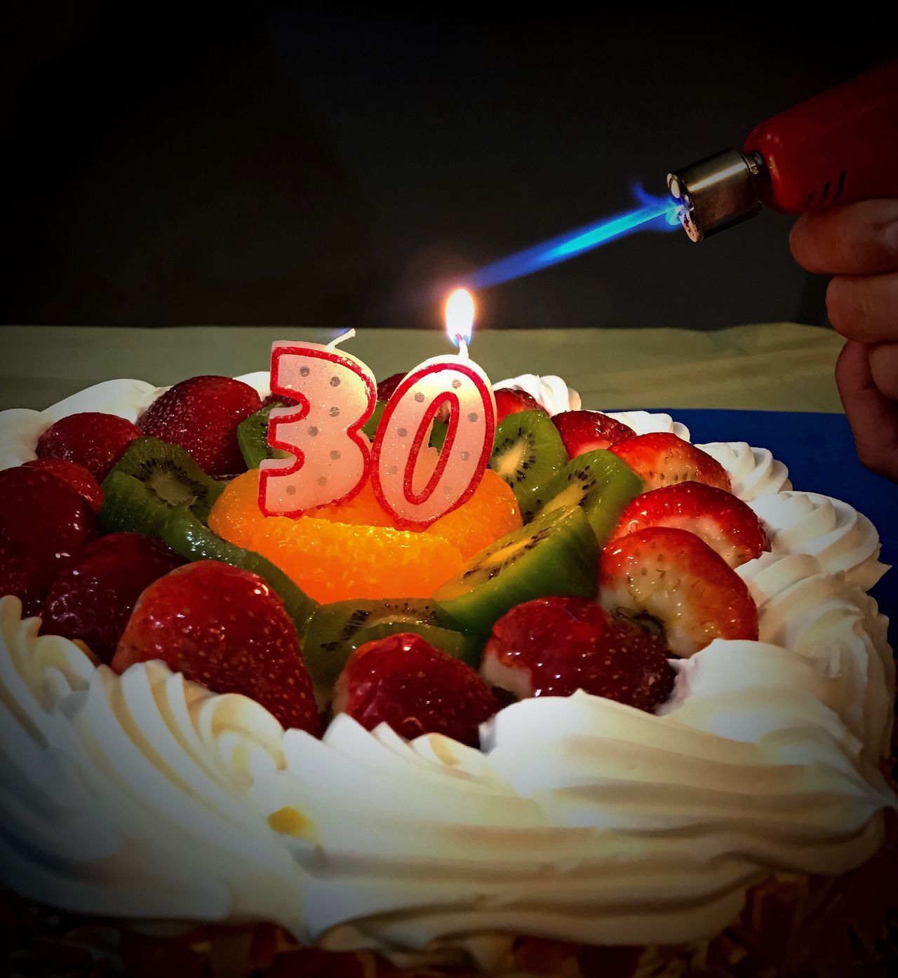 Food And Drink Indulgence Human Hand Birthday Cake Burning Birthday Flame Celebration Birthday Candles Dessert Sweet Food Candle Food Human Body Part Cake Freshness Indoors  Temptation Unhealthy Eating Blowtorch Real People Happy Birthday! 30th Anniversary 30thBirthday