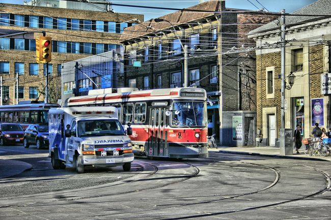 Transportation Architecture Built Structure Land Vehicle Building Exterior Street Mode Of Transport City Road City Life City Street Vehicle StreetcarTO Streetcar Ambulance Hdr Photography HDR Day Sunny Photography Outdoors HDR Streetphotography Hdr_Collection Architecture