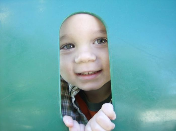 Front View Happiness Innocence My Lil Davian Outdoors Peeking Person Playground