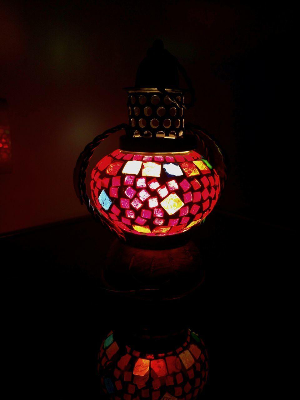 lighting equipment, illuminated, lantern, no people, indoors, multi colored, day