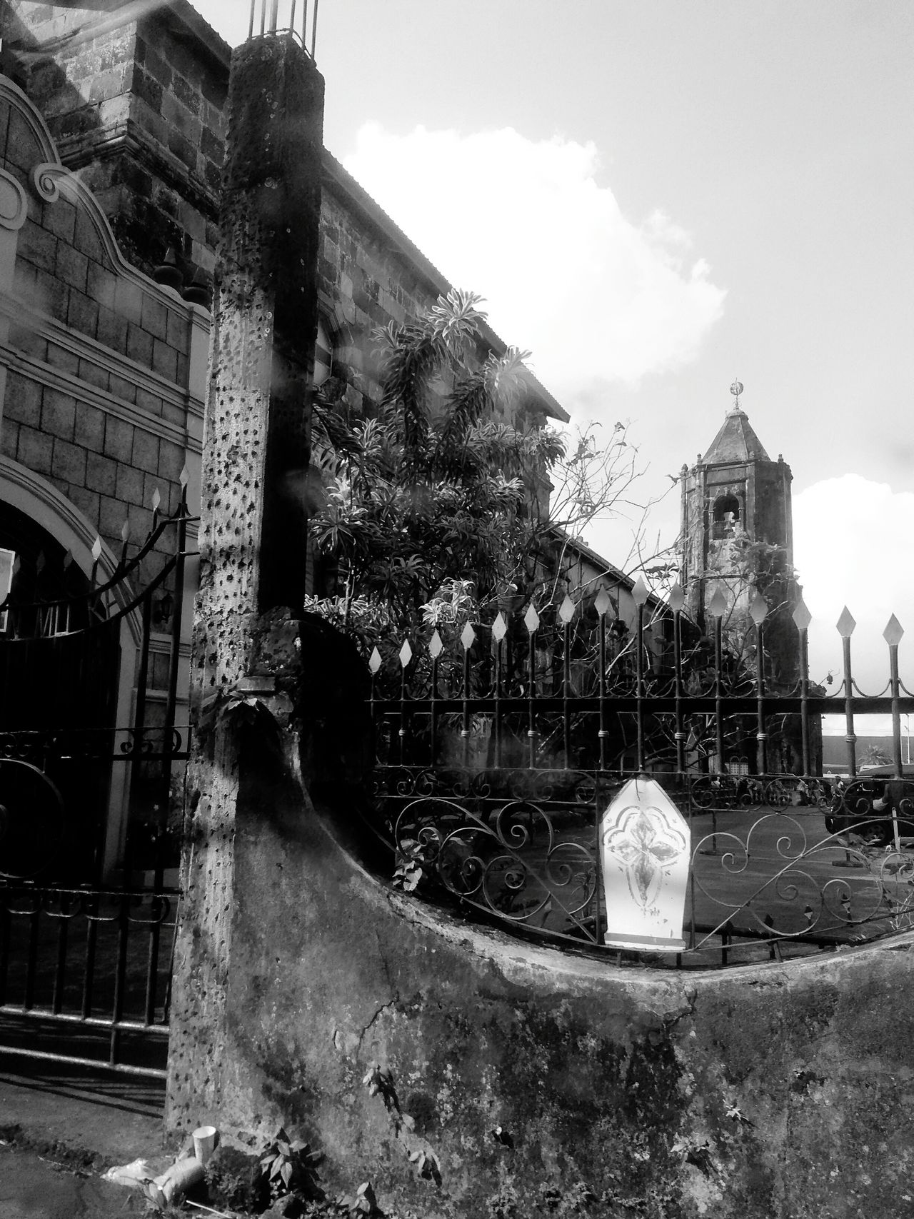 Sanluisobispodetolosa Churchyard Church Architecture Spanish Style Low Angle View Outdoors Quezon Province Philippines monochrome photography
