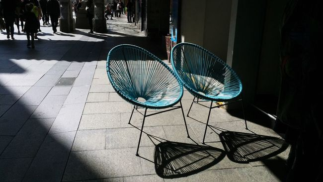 Two Is Better Than One | City Life Street Light Blue Chairs