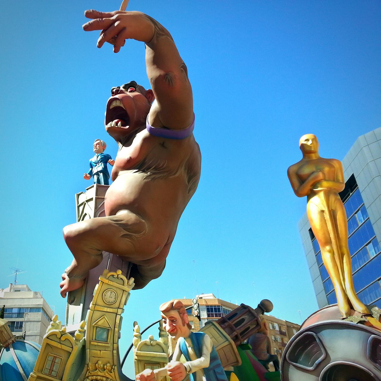 King Kong in Fallas, Valencia Low Angle View Arts Culture And Entertainment Clear Sky Sculpture Blue Day Amusement Park People Sky Adults Only Adult Outdoors Statue Togetherness Men Only Men City Young Adult King Kong Fallas 2017
