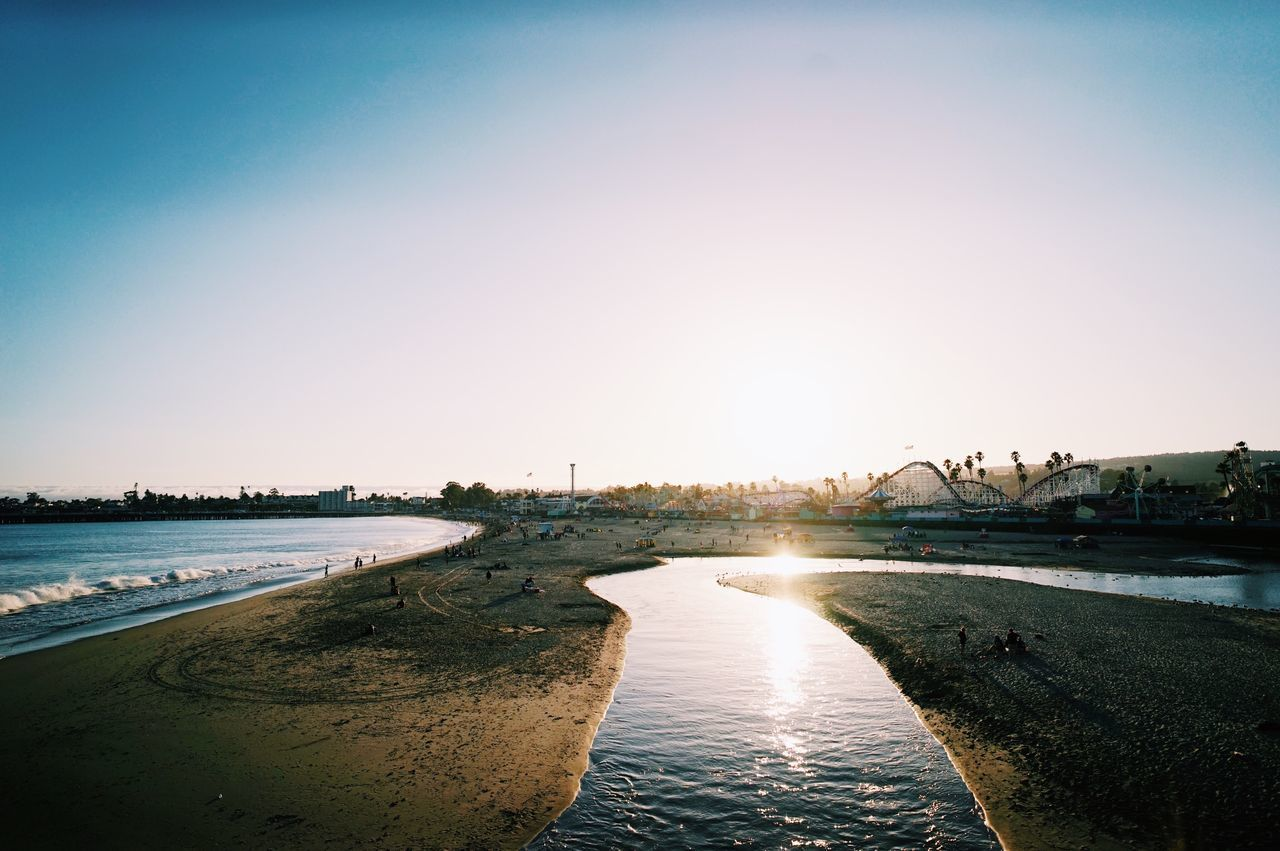 Santa Cruz, CA // Water Sea Beach Sunset Clear Sky Outdoors Sunlight Nature No People Scenics Tranquility Beauty In Nature Sky Day Architecture City Tree