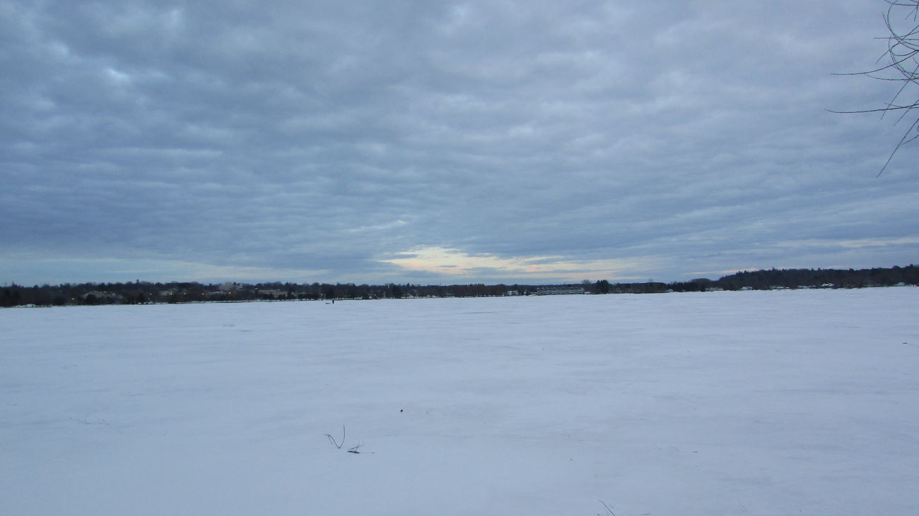 Cold Temperature Around The Lake Snow Covered Awesome_view Cloud - Sky Far As The Eye Can See Lake Cadillac Pure Michigan