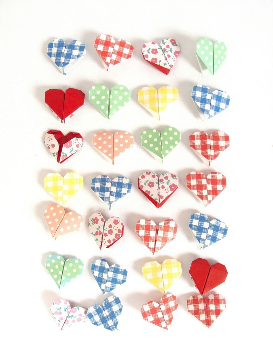 Origami Hearts Paper Folded Folded Paper Hearts Pattern Paper