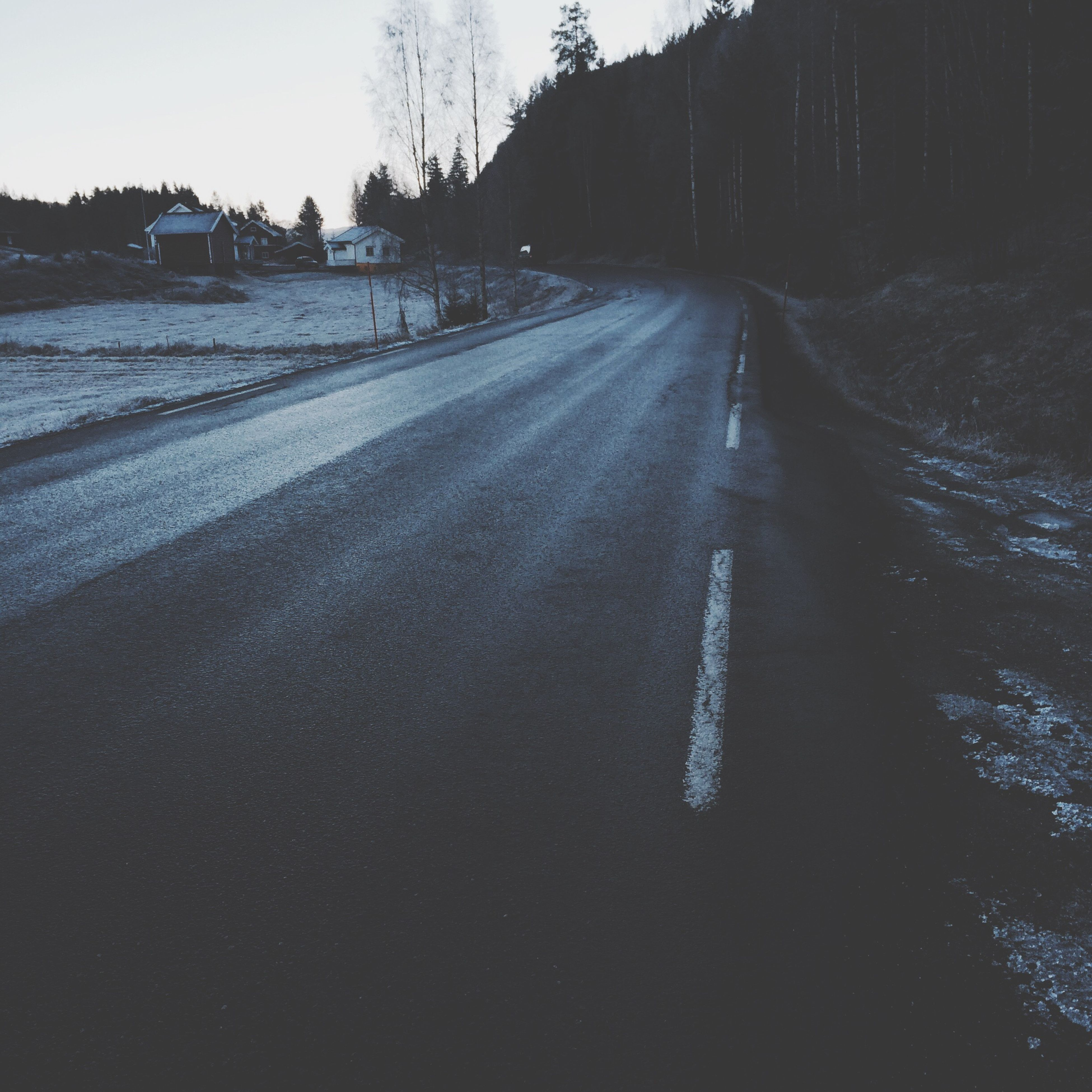 the way forward, road, transportation, diminishing perspective, snow, winter, vanishing point, tree, cold temperature, road marking, street, tranquility, nature, tranquil scene, asphalt, empty road, sky, landscape, weather, outdoors