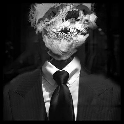 Suited in disfiguration. Blackandwhite Black & White Throughmyeyez Only In Black And White No Color Face I See Black And White Black And White Photography Skulls Bones Teeth Skull Skulls & Bones