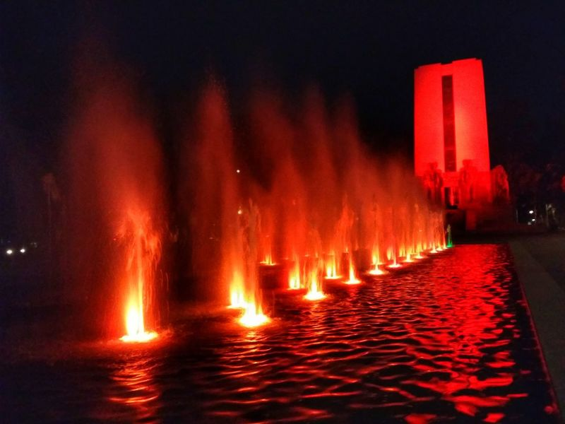 Red Water Illuminated Reflection Night Outdoors Heat - Temperature Motion No People
