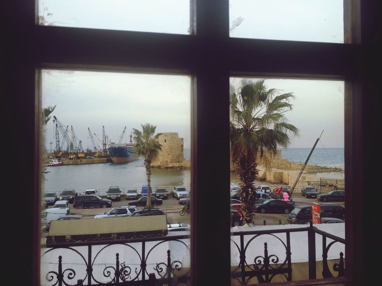 From My Window Sea Castle Old East Mediterranean Sidon Lebanon