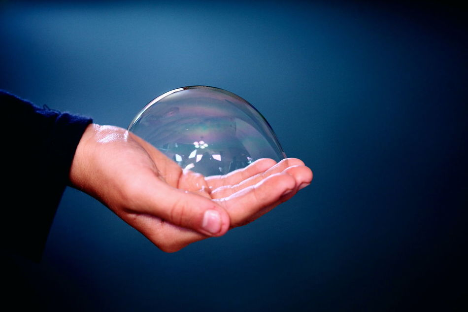 Amazing Blue Bubbles Child Childhood Close-up Crystal Ball Fragile Fun Hand Holding Human Hand One Person People Rainbow Round Science Wonder Resist