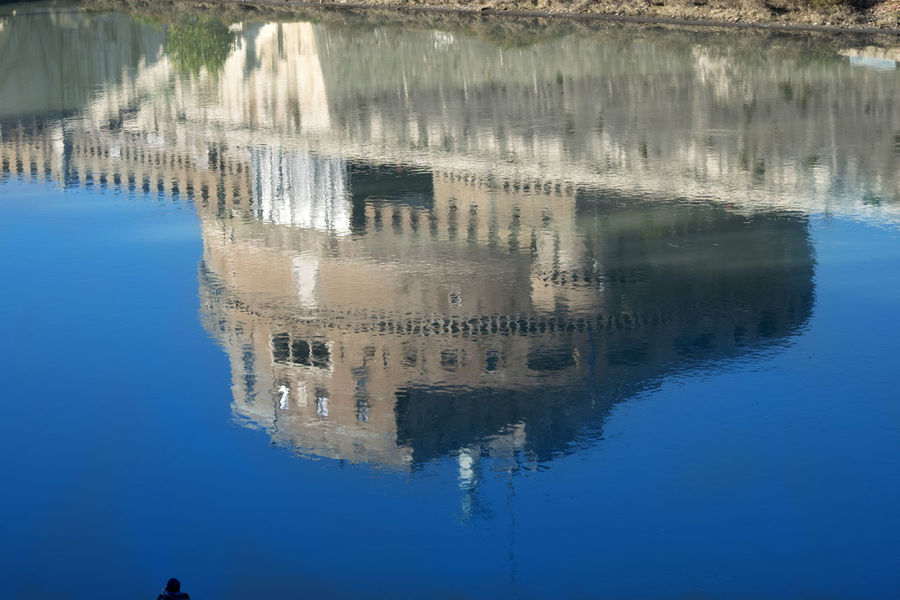 Saint Angel castle in Rome reflected in the Tiber river Angel Castel Sant'Angelo Castle Reflected  River Rome Saint Saint Angel Castle Tiber