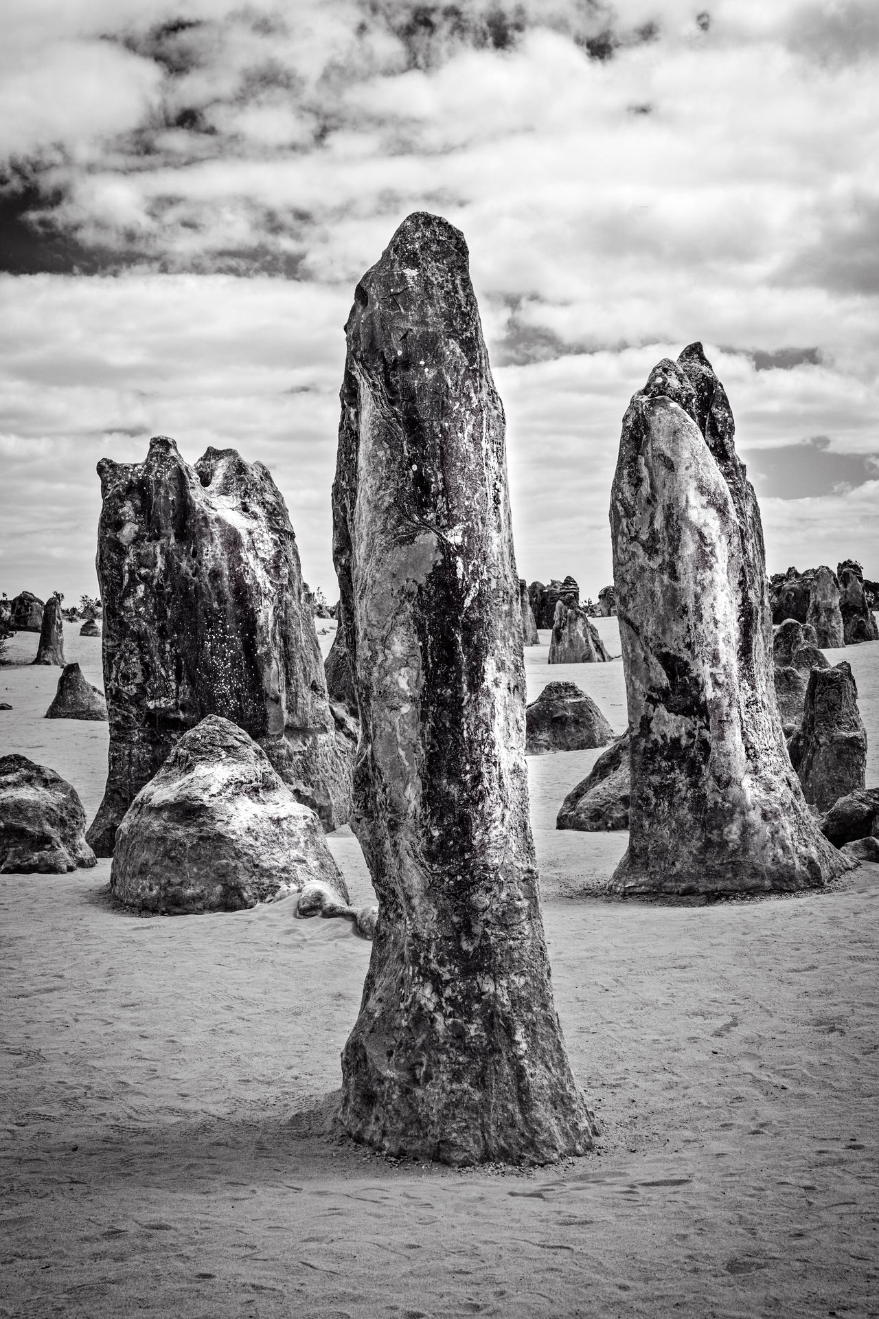 Pinnacles Desert, Western Australia - petrified trees?! 5d4 Australia Beauty In Nature Black & White Black And White Blackandwhite Canon Canon 5d Mark 4 Cloud - Sky Contrast Day Monochrome Nature No People Outdoors Petrified Pinnacles Desert Pinnacles National Park Rock - Object Sky Tranquility Western Australia