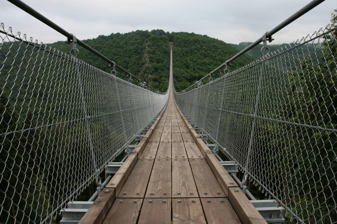 Suspension Bridge Connection Courage Day Footbridge Geierlay Growth Long Way To Go... Nature Netting No People Outdoors Sky Suspension Bridge Tree
