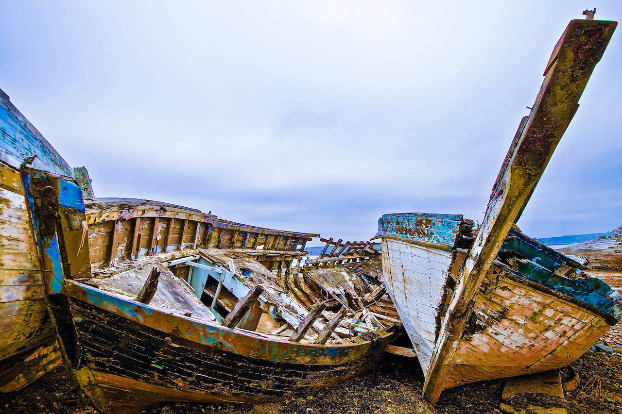Abandoned Abandoned Boat Bretagnetourisme Brittany Day Nautical Vessel No People Old Boats Ruins Outdoors Ship Graveyard Sky
