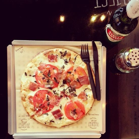 Custome made pizza and stella for lunch! Projectpie
