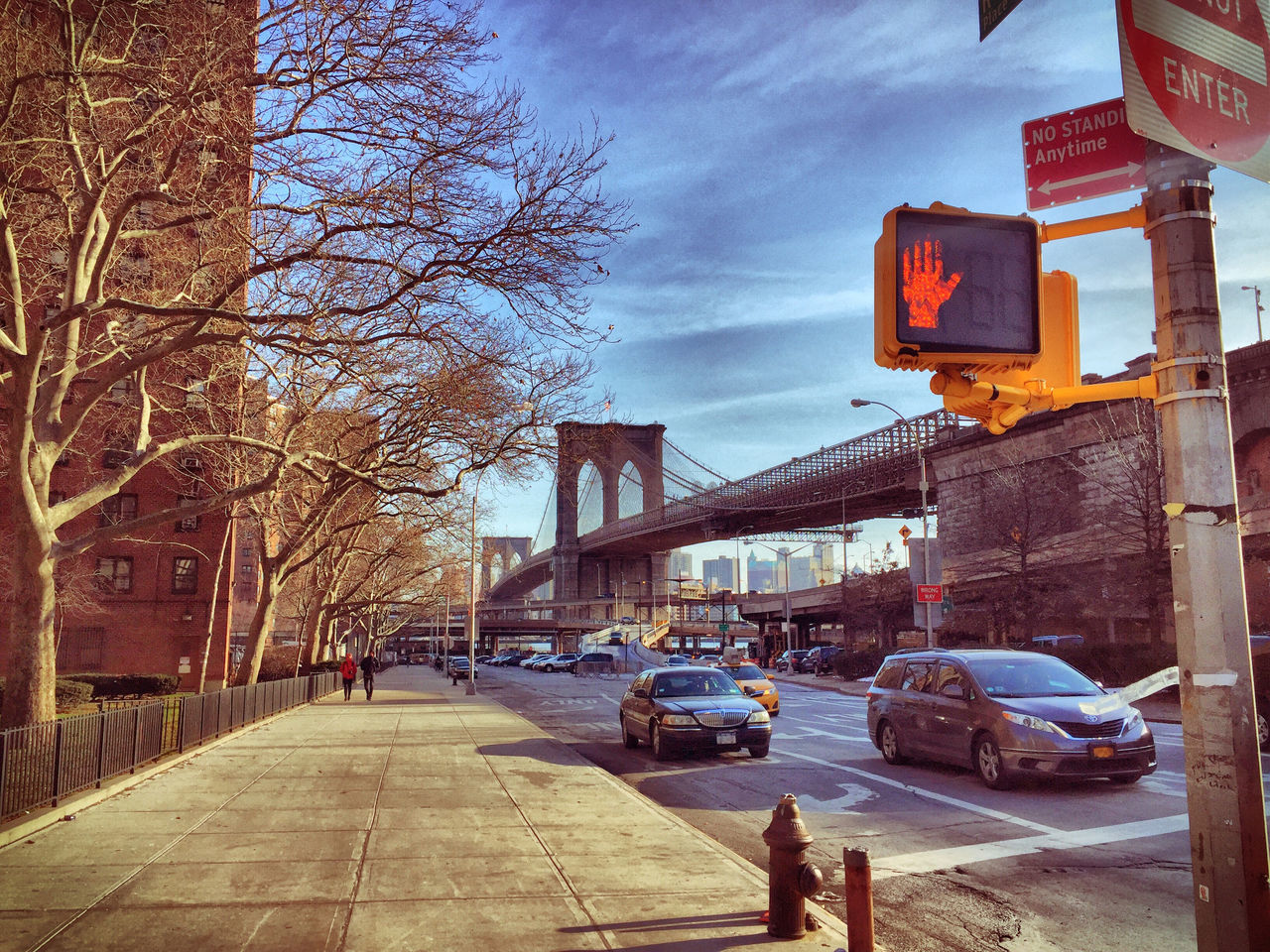 Architecture Bridge Brooklyn Bridge  Building Exterior Built Structure City Day HDR New York Outdoors Red Hand Signal Sky Stop Walking Street Photography Traffic Light  Transportation Travel Destinations Trees USA