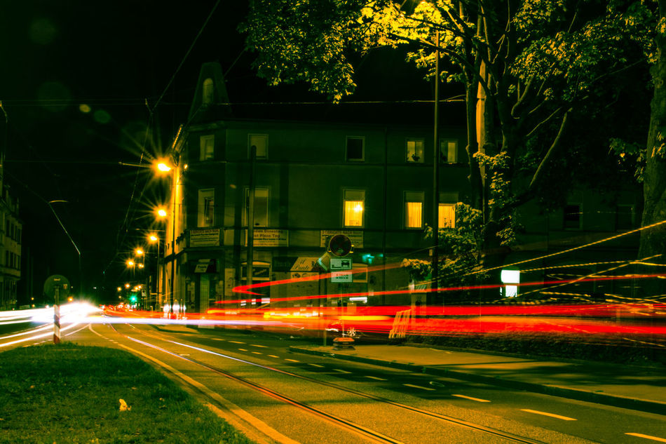 Architecture Architecture Architecture_collection Blurred Motion Building Exterior Built Structure City City Life Illuminated Light Trail Long Exposure Motion Night No People Outdoors Road Speed Street Street Light Street Photography Streetphotography Transportation Urban Scene Art Is Everywhere