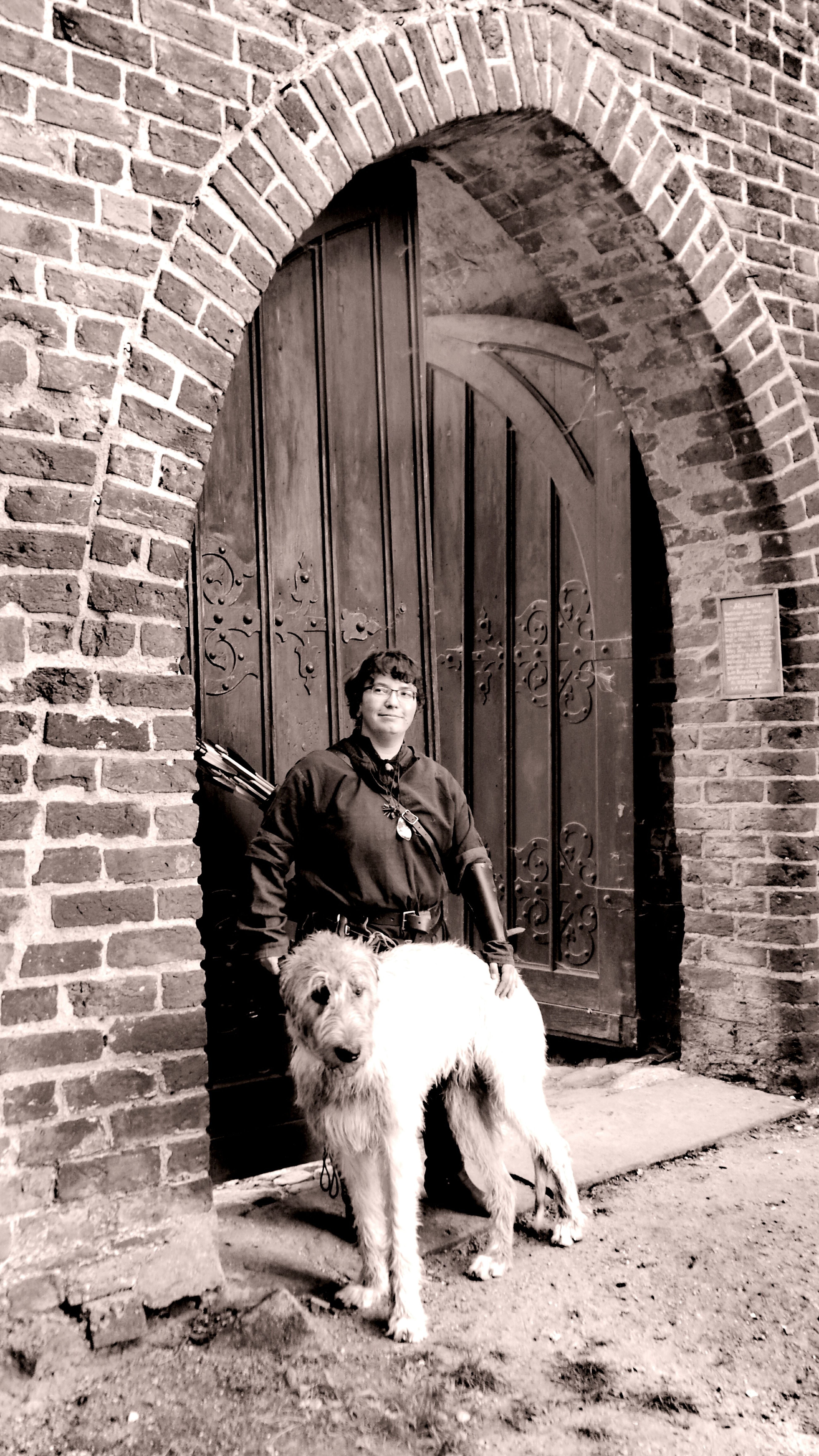 Summer ☀ Show Me Your Sepia Monochrome The Places ı've Been Today Showcase September Altmark Cearnaigh Irish Wolfhound Dogwalk Dogslife Dogs Of EyeEm Dog Of The Day Dog Of My Life Dogs Of Summer That's Me Hello World Medieval Dog Castle Doorway