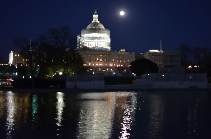 Architecture Building Exterior Built Structure Capital Cities  City Clear Sky Dome Famous Place Illuminated International Landmark Night Reflection Sky Tourism Travel Travel Destinations US Capitol Building Washington DC Water Waterfront